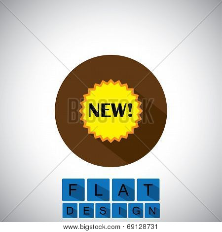 Flat Design Icon Of New Product Arrival Badge - Vector Graphic