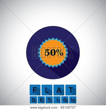 Flat Design Icon Of 50% Discount Sale Badge - Vector Graphic