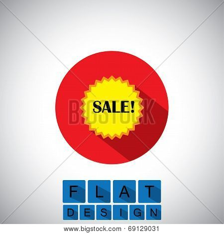 Flat Design Icon Of Sale & Discount Badge - Vector Graphic