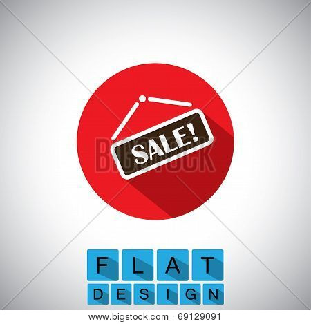 Flat Design Icon Of Discount Sale Display - Vector Graphic