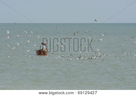 Fishing Boat At Worthing. Sussex. England