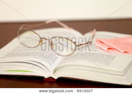 Glasses and books after reading