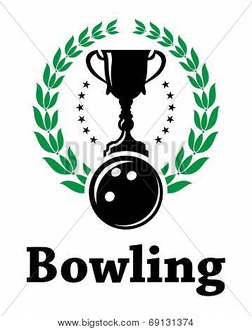Sport bowling league label with laurel wreath