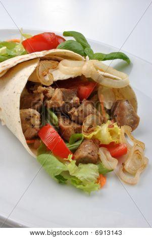 Home Made Tortillia With Organic Pork Goulash