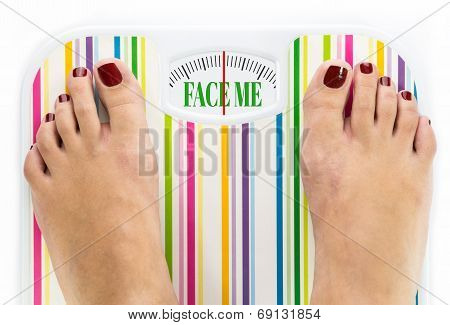 Feet On Bathroom Scale With Words