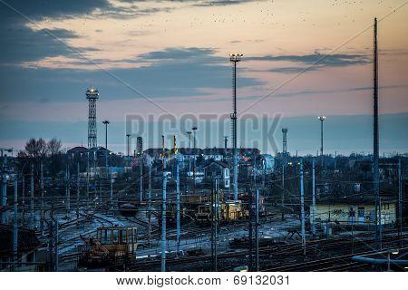 sorting rail at dusk