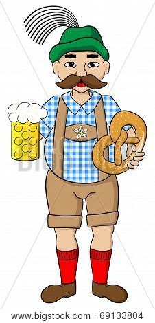 Oktoberfest Man With Beer And Pretzel