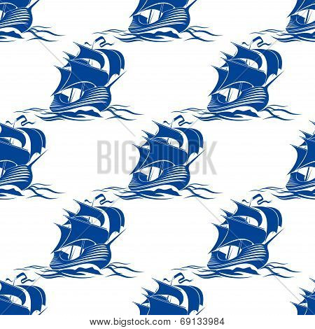 Seamless pattern of rigged sailing ship