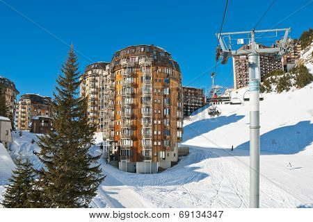 Ski Lift And View Of Avoriaz Town In Alps, France