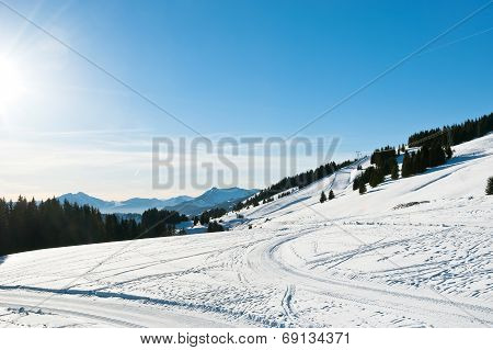 Snow Road And Ski Track Near Avoriaz Town In Alps