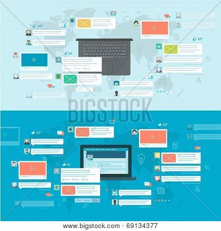 Set of flat design concepts for social network, social media, online communication