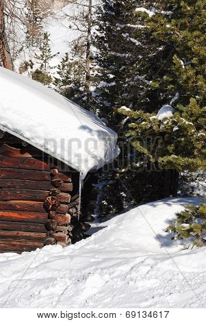 Snowdrift On Roof And Fir Tree In Dolomites, Italy