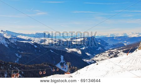 Ski Lift And Panorama Of Dolomites Mountain, Italy