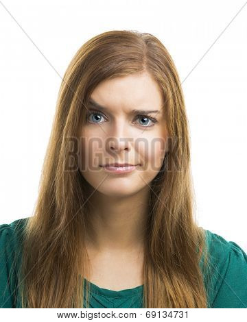 Portrait of a beautiful young woman with a suspicious face
