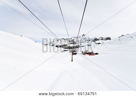 Cable Road On Mountains In Paradiski Area, France