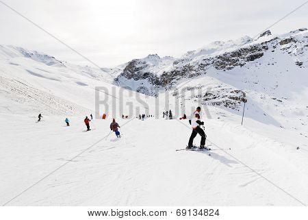 Downhill Skiing In Paradiski Area, France