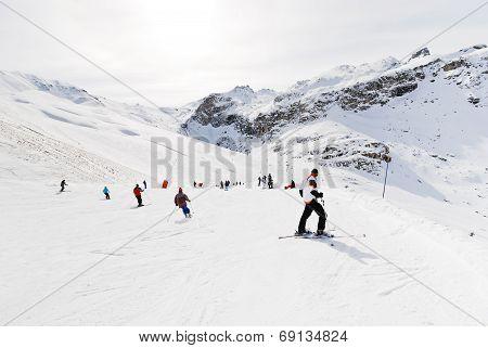 Downhill Skiing In Paradiski Area, France