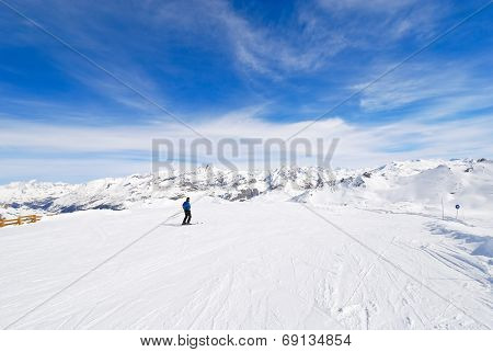 Mountain Skiing In Paradiski Area, France