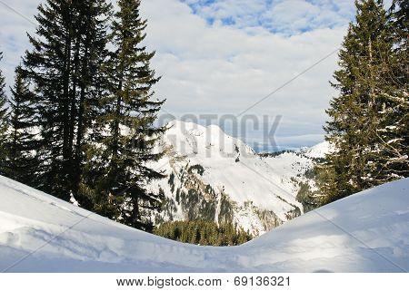 View Of Snow Mountains In Portes Du Soleil Region