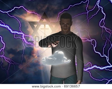 Man Hovers Cloud with Star of David and Cross in Storm with God Rays