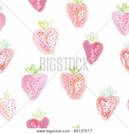 Strawberries seamless pattern - pastel colors