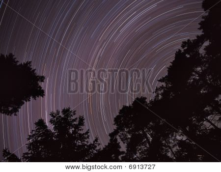 Night sky stars moving.