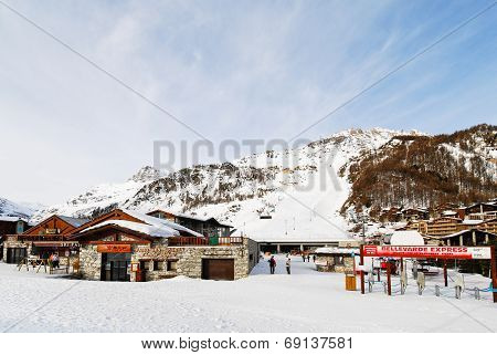 Tramway Terminal In Town Val D'isere, France