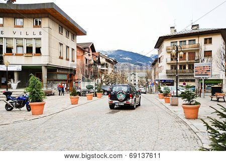 Main Street Of Bourg Saint Maurice Village, France