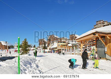 Shopping Street In Avoriaz Town In Alps, France