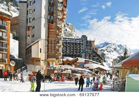 Main Street In Avoriaz Town In Alps, France