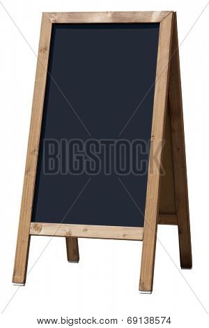 Blank menu blackboard outdoor display isolated with clipping path