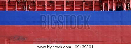 Blue And Red Cargo Ship Hull Side Texture