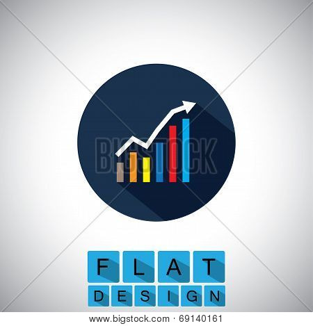 Flat Design Icon Of Rising Graph With Up Arrow