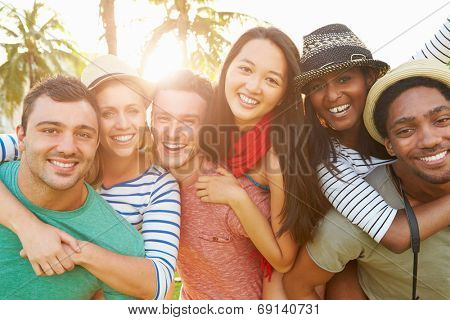 Group Of Friends Having Fun In Park Together