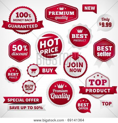 Vector Price Offer Banner Labels Set