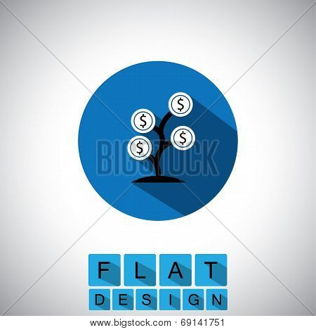 Flat Design Icon Of Money Tree Or Cash Plant - Vector Graphic