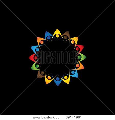 Abstract Colorful Company Employees Unity & Diversity - Vector Graphic