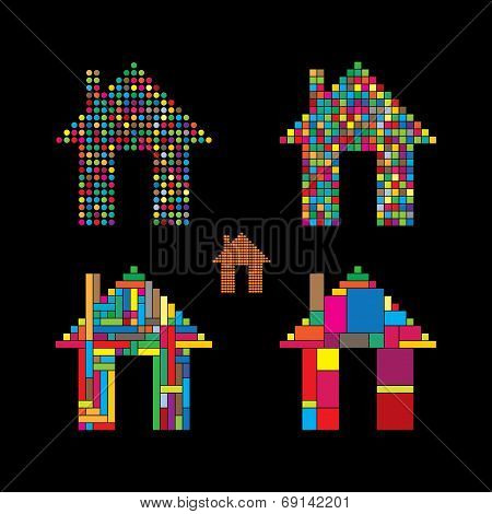 Colorful Abstract House Vector Icons Of Dots, Squares & Rectangles