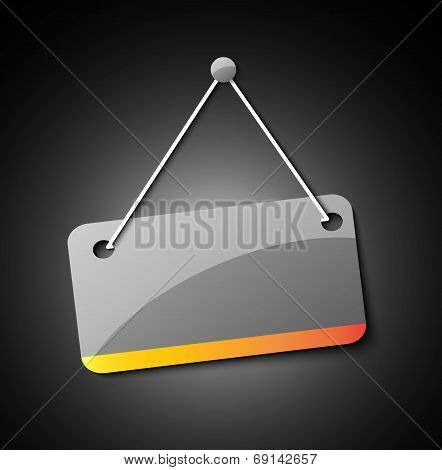 Blank hanging sign for your text on an abstract background.