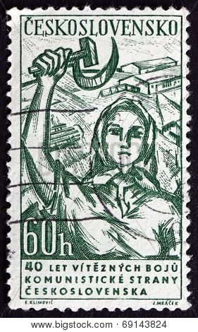 Postage Stamp Czechoslovakia 1961 Woman With Hammer And Sickle