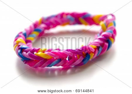 Close Up Of Bracelet Made With Rubber Bands