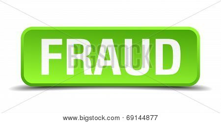 Fraud Green 3D Realistic Square Isolated Button