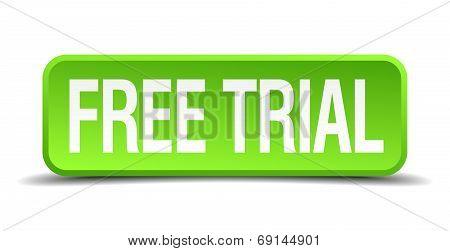 Free Trial Green 3D Realistic Square Isolated Button