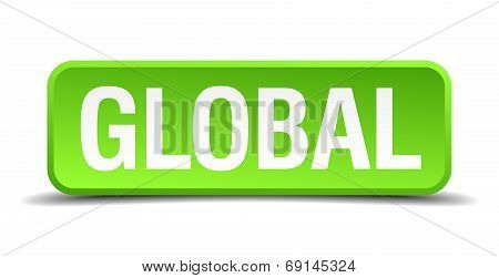 Global Green 3D Realistic Square Isolated Button