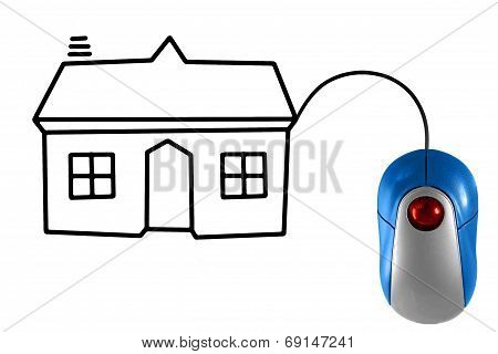 House Depicted By Computer Mouse Cable