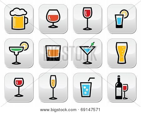 Drink colorful alcohol beverage buttons set