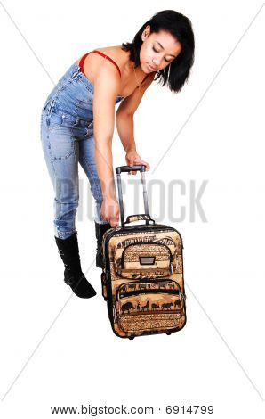 Girl In Jeans Suit On A Trip.