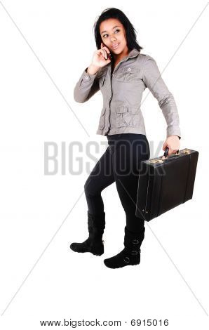 Business Woman With Brief-case.