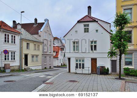Cozy Street Of Bergen, Norway