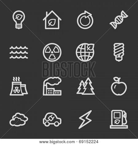 Green ecology web icon set 1, grey set